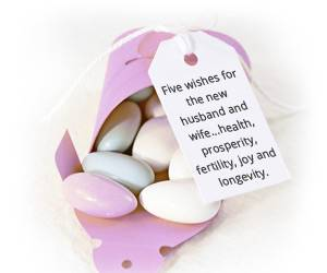 Sugared almonds wedding favours